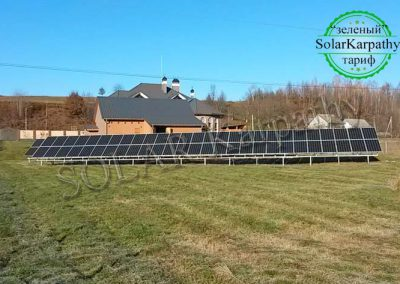 Наземная сетевая солнечная станция мощностью 30 кВт, «Зеленый» тариф, система отопления и ГВС для частного дома, с. Золотарево, Хустский р-н