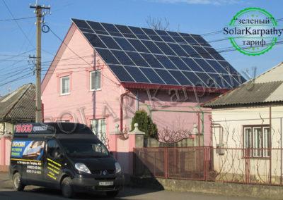 """Мережева сонячна електростанція потужністю 15 кВт (64 панелі), геліосистема (4 плоских сонячних колектора), """"Зелений"""" тариф, м. Виноградів"""