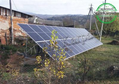 Наземная сетевая СЭС мощностью 10 кВт (28 панелей) под «Зеленый» тариф пгт. Великий Бычков, Раховский р-н