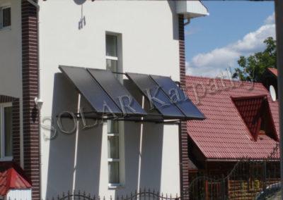 Система для поддержки отопления, ГВС и нагрева бассейна (4 плоских гелиоколлектора), отель «Злата Вежа», с. Поляна, Свалявский р-он