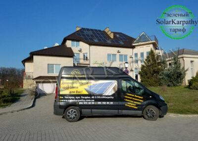 Сетевая солнечная электростанция мощностью 10 кВт (26 панелей) для отеля «Гостинний дім», г. Ужгород